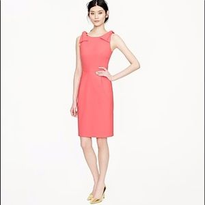 J. Crew  pink origami bow dress in stretch wool
